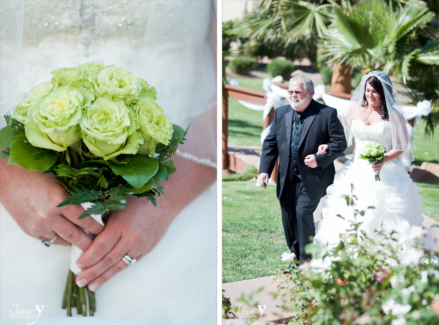 bride boquet and walking down aisle with dad at grove las vegas wedding