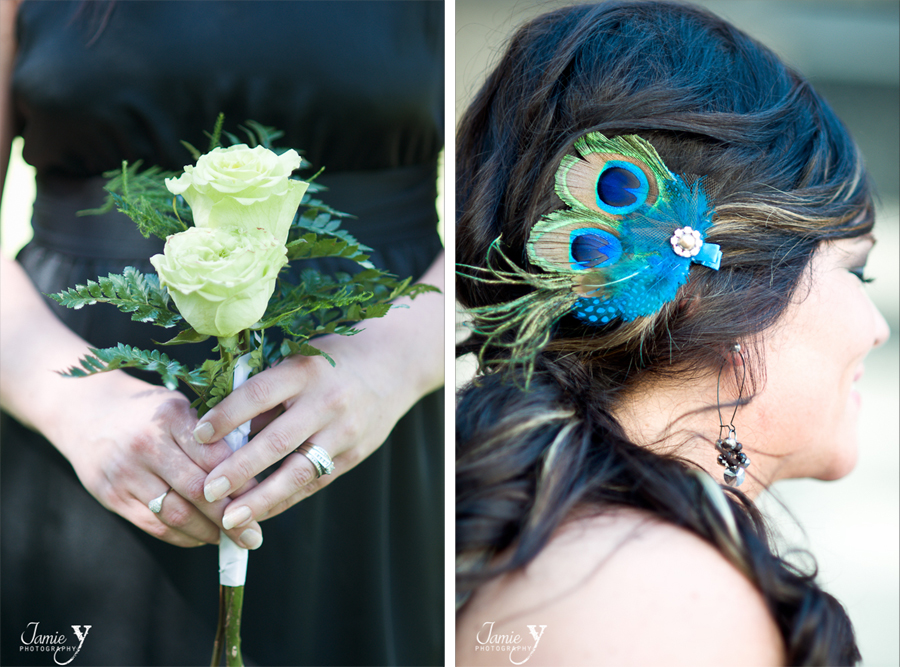 green rose bouquet and fascinator for bridesmaid at vegas wedding