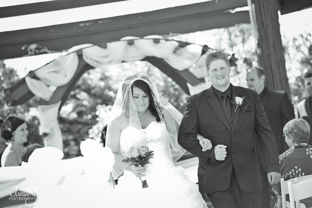 bride and groom picture after ceremony at the grove las vegas in the gazebo