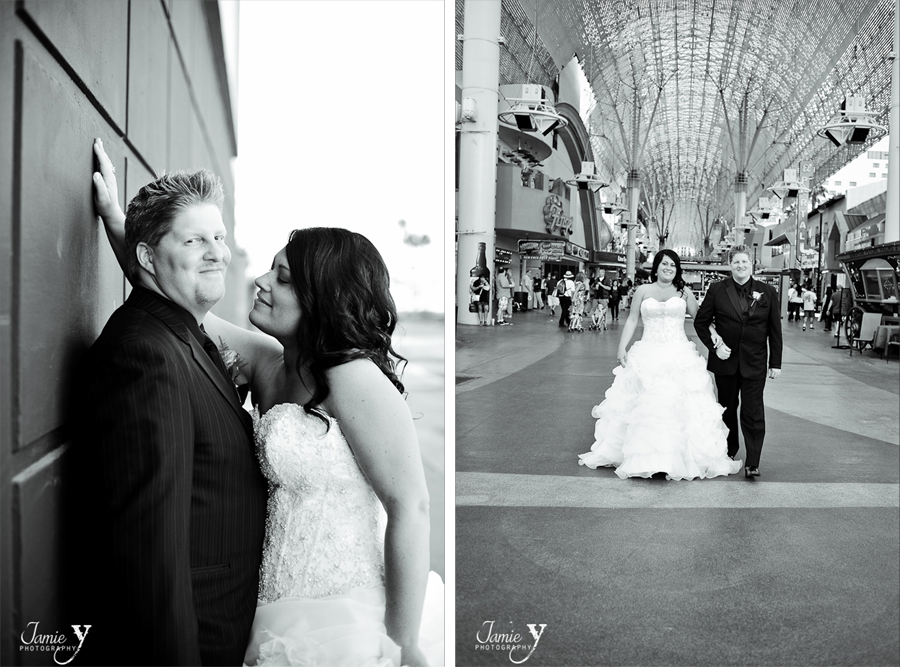 photography of bride and groom on freemont street in downtown las vegas