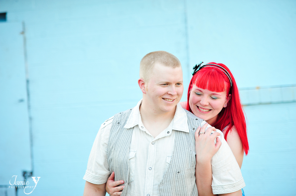engagement photo girl with bright red hair