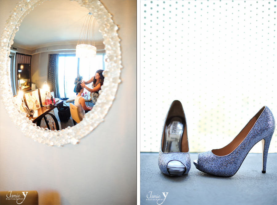 getting ready for wedding at the cosmo with badgley mischka wedding shoes