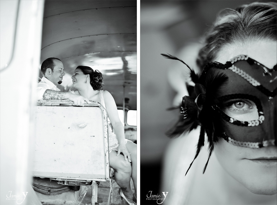 bridal portrait with masquerade mask