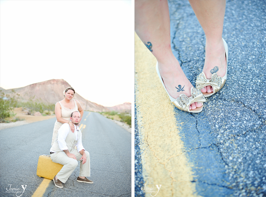 brides shoe photo with tattoos of pirate and dice