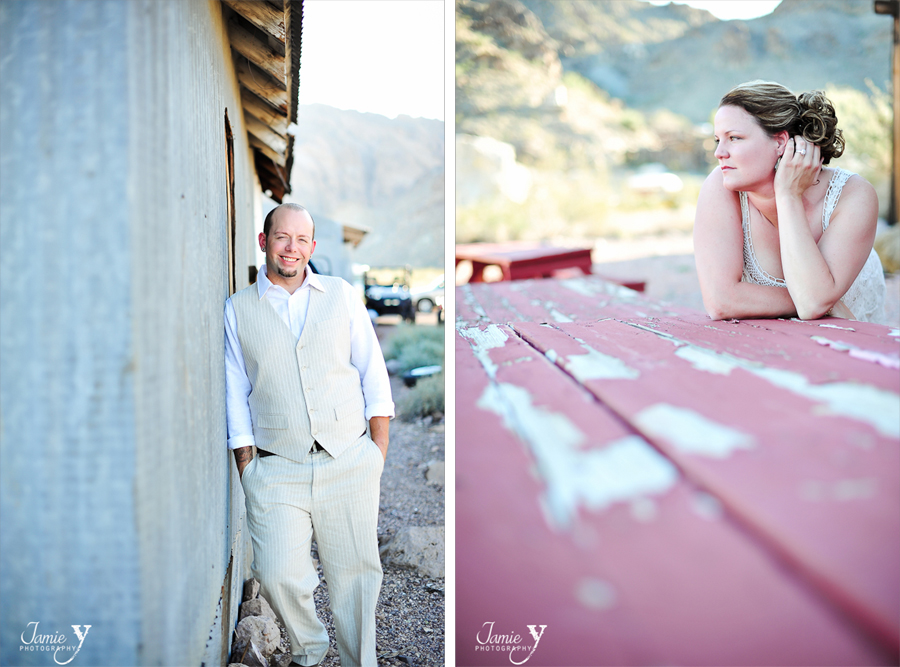 individual portraits of bride and groom out at nelson nevada