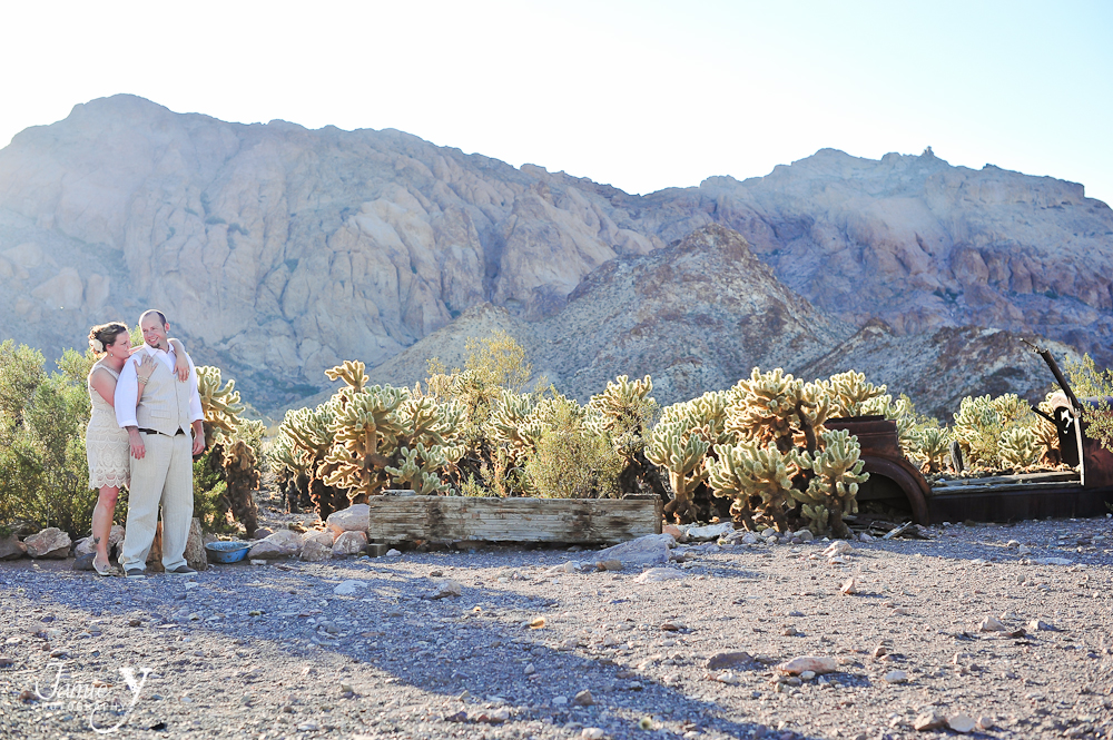 photography of couple at  nelson nevada with glowing cactus in background