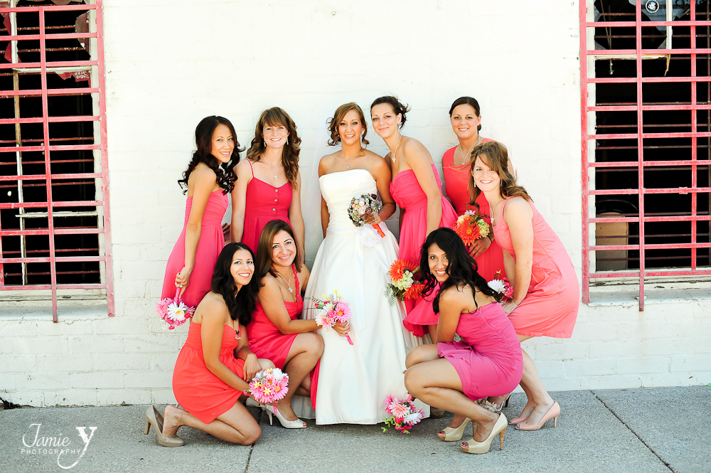 bridesmaids with different shades of pink dresses