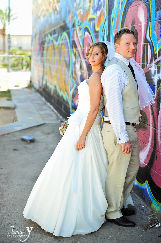 edgy wedding portrait taken in the arts district of downtown las vegas nevada