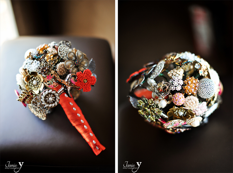 handmade wedding bouquet made out of pins and brooches