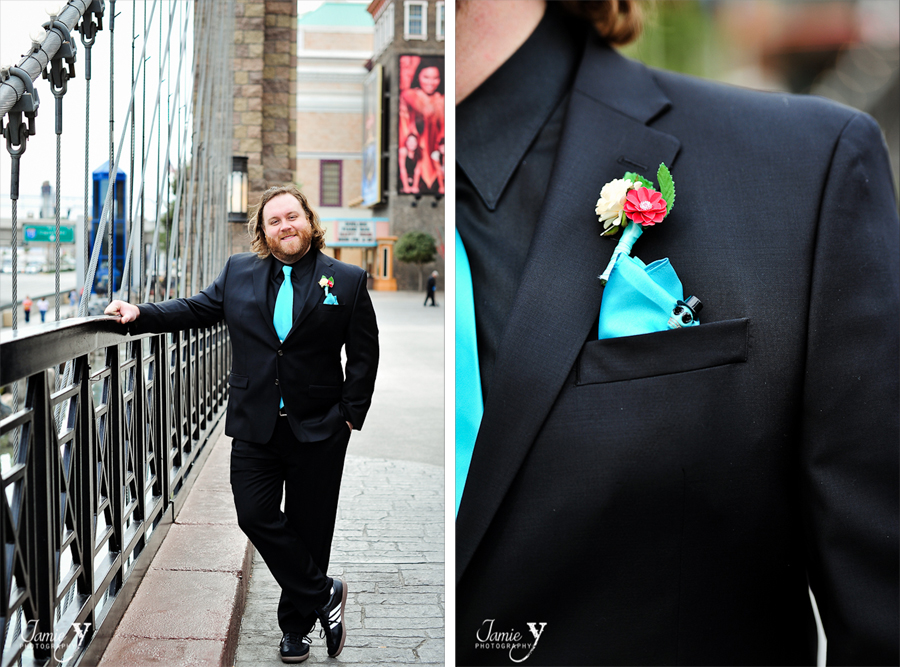 groom with turquoise and red and skulls