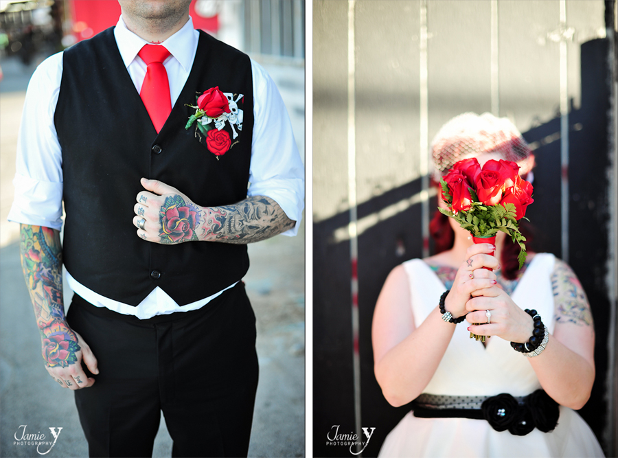 red and black and white rock n roll wedding