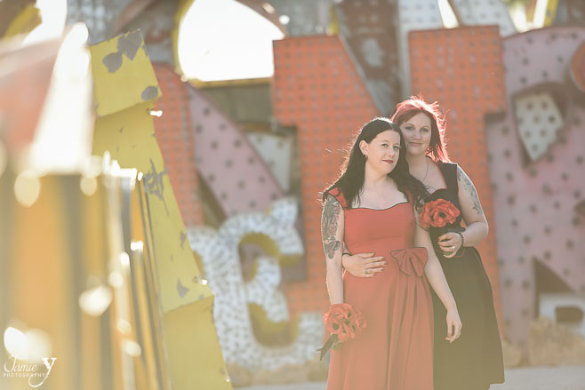 Photo Shoot At The Neon Museum | Honeymoon Session | Gemma & Emma