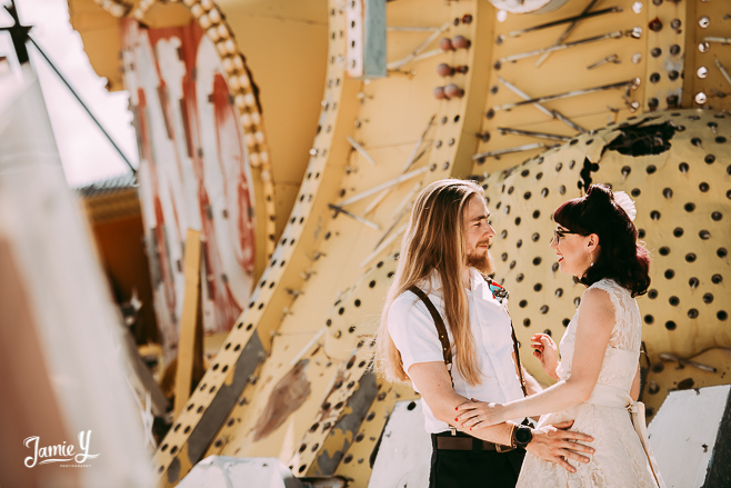 Elopement At The Neon Museum | Jessica & Steve