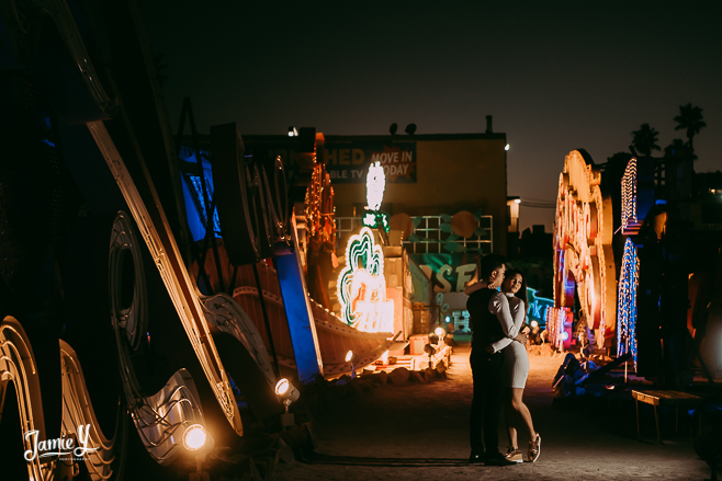 Las Vegas Couples Photo Shoot | Neon Museum & Freemont | Yvonne & WZ