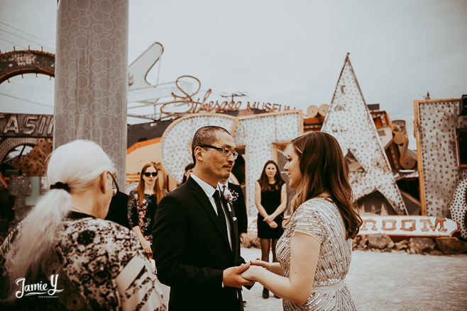 Small Wedding Ceremony North Lot Neon Museum | Katie & Kisong